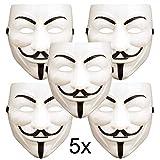 ART DECOR Germany 5X V wie Vendetta Maske, Guy Fawkes Maske, Anonymous Maske, weiß