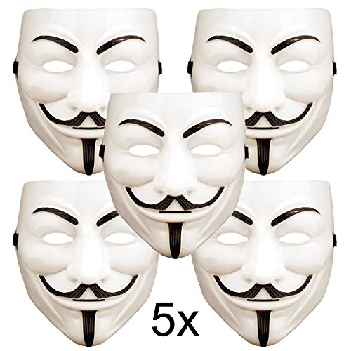 ART DECOR Germany 5X V wie Vendetta Maske, Guy Fawkes Maske, Anonymous Maske, weiß