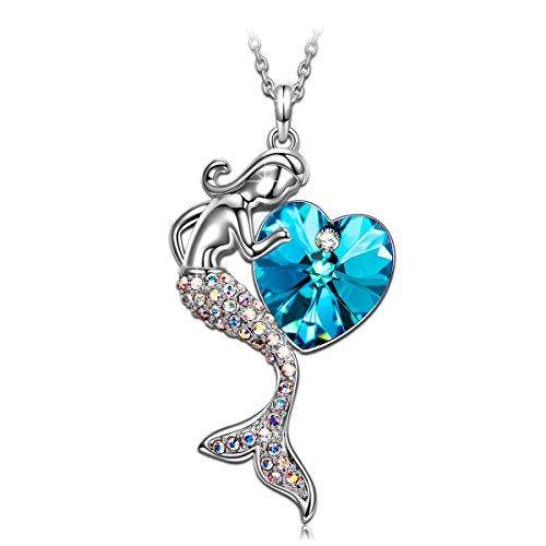 J.RENEÉ Halskette Damen, mit Blau Herz Swarovski Elemente, Schmuck Damen, Kette Damen, Geschenke für Frauen