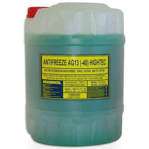 20 Liter Mannol AG13 Kühler Frostschutz für G11 grün gebrauchsfertig bis -40°C
