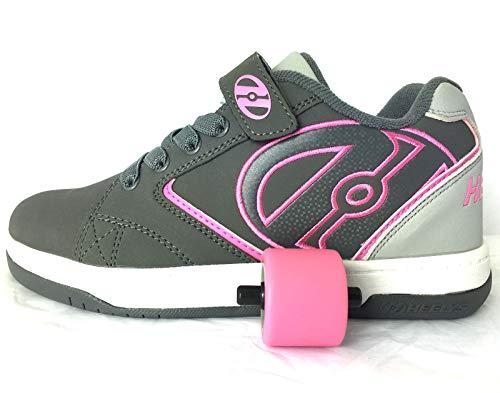 Heelys Propel KR | Unisex-Schuhe mit Rädern für Jungen und Mädchen | (33 EU, Charcoal/Grey/Pink)