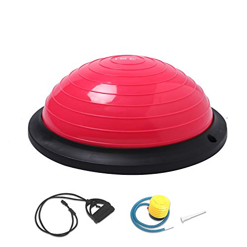 ISE Ø46 cm Balance Trainer Balance Ball Trainingshalbball mit Pumpe und 2 Zugbändern beidseitig nutzbar für Yoga Gymnastik,GS-geprüft (Rosarot)