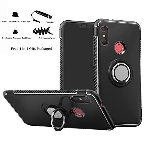 Labanema Xiaomi Mi A2 Lite/Redmi 6 Pro Funda, 360 Rotating Ring Grip Stand Holder Capa TPU + PC Shockproof Anti-rasguños teléfono Caso protección Cáscara Cover para Mi A2 Lite/Redmi 6 Pro - Negro