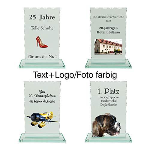 JSSC Neugart GmbH Glaspokal, Wellenschliff (gerade), in 3 verschiedenen Größen oder als Serie mit über 30% Nachlass (140x90mm, Text+Logo/Foto farbig)