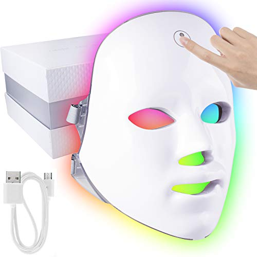 7 Color LED Light Face Mask - Touch Control Therapy Acne Treatment LED Mask...