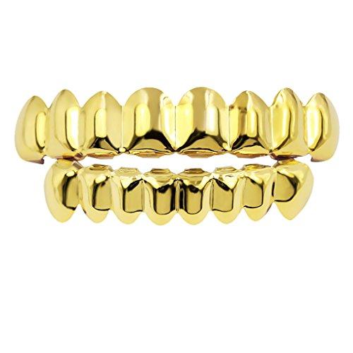 milageto Vergoldete 18K Goldgrills 8 Zähne Grill Set Halloween Vampir Props - Gold