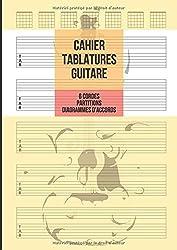 Cahier Tablatures Guitare: Guitare 6 Cordes, 5 Tablatures avec Partitions et 7 Diagrammes d\'Accords par Page, 100 Pages A4