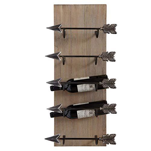 ZSCC - Estante de almacenamiento de vino vintage para 5 botellas de metal para colgar en la pared, estante de almacenamiento de madera, cubo de vino, gabinete de vino, diseño de decoración de pared