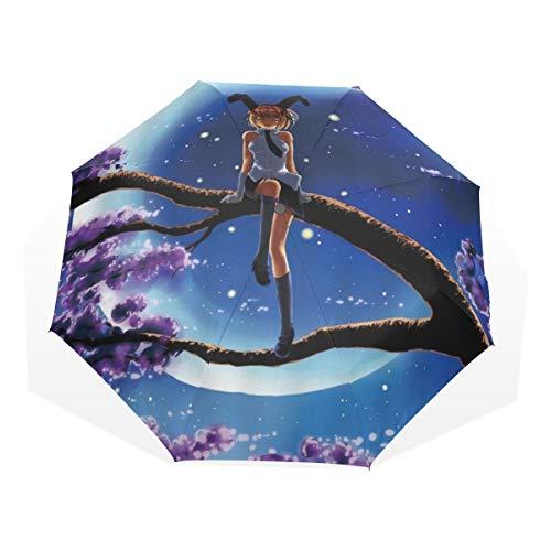 LASINSU Regenschirm,Anime Mond Nachttraummädchen Baum Rosa Blume,Faltbar Kompakt Sonnenschirm UV Schutz Winddicht Regenschirm