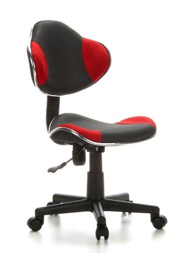 hjh OFFICE 633002 Sedia da ufficio per bambini KIDDY GTI-2 grigio rosso, ideale per l'inizio...