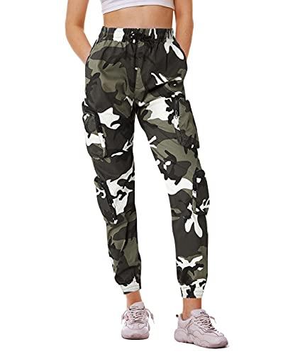 Fanient Pantalones de camuflaje para mujer, pantalones de deporte, pantalones de trabajo, uniforme, combate, cargo, holgados, multibolsillos, pantalones de seguridad