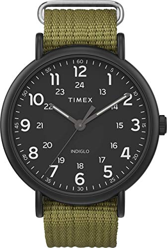Timex Weekender XL 43mm Reloj para Hombre con Caja Negra y Correa de Tela Verde Oliva TW2U68200