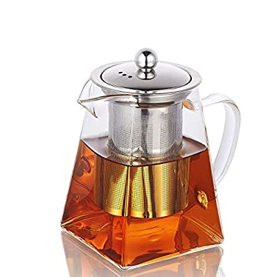750ML/25OZ Square Glass Teapot for One with Heat Resistant Stainless Steel Infuser Perfect for Tea and Coffee,Clear Leaf Teapot with Strainer Lid gift for your family or friends (750ML)