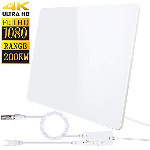 Antena de TV,Antena de TV Digital para Interiores de Alcance de 200KM con Amplificador Inteligente de Señal, Adecuada para Canales de TV Gratis 1080P 4K, Amplificador con Cable Coaxial de 5M (Blanco)