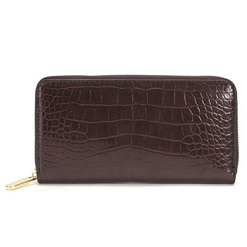 Portemonnaie mit Reißverschluss für Damen, Clutch, Orangizer, Portemonnaie mit RFID-Blockierung, Krokodilleder, Brillant, veganes Leder -  Braun -  Large