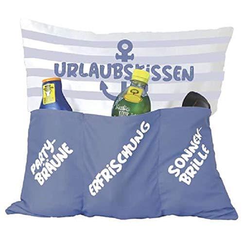 Kamaca Originelles Dekokissen Kissen mit 3 Taschen zum selber Befüllen Größe 43x43 cm tolles Geschenk für EIN gelungen Sofaabend Filmabend Öko Tex (Urlaubskissen)