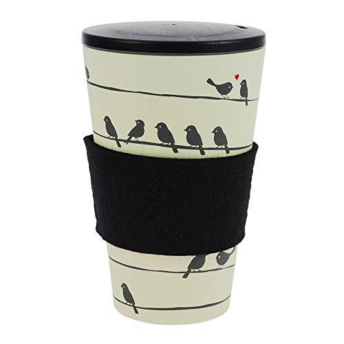 ebos Coffee-to-Go-Becher aus Bambus, incl. Schraubdeckel | wiederverwendbar, natürliche Materialien, umweltfreundlich, spülmaschinengeeignet, verschiedene Designs (Loving Birds)