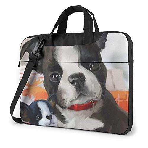 Boston Terrier imprimió el Bolso de Hombro del Ordenador portátil, maletín del Bolso de Mensajero del Negocio del Bolso de la Caja del Ordenador portátil