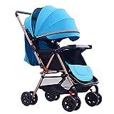 LjfHot Mom Passeggino Passeggino Pieghevole Compatto e Leggero, Passeggino a Due Vie Portatile per passeggini Neonati dalla Nascita Fino a 15 kg, Blu