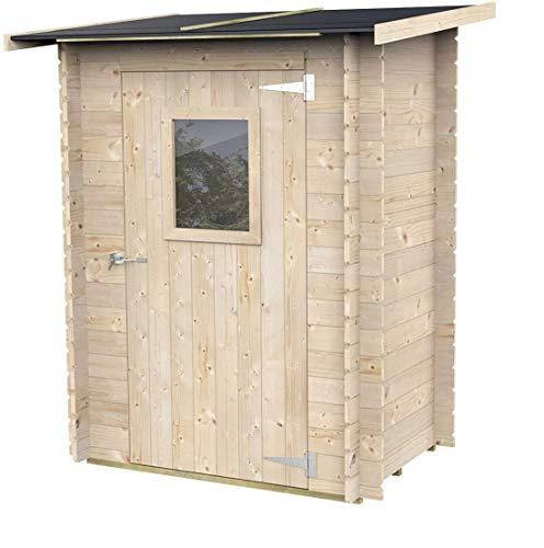 TGG Box CAPANNO in Legno ADDOSSATO Jack per Attrezzi con Porta Singola FINESTRATA Jack Naturale 146 X 98 CM