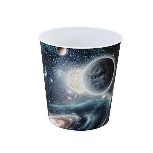 Idena 10487 - Papierkorb aus PP, Weltraummotiv, 9 Liter, 1 Stück