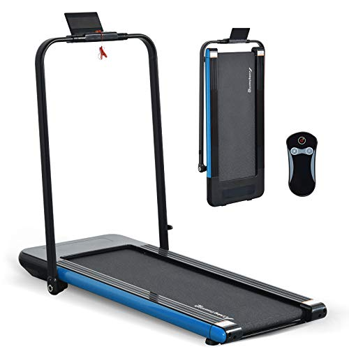 LINKLIFE 2 in 1 Folding Treadmill, 2.25 HP Smart Walking Running Machine with Bluetooth Audio Speakers, Installation-Free,Under Desk Treadmill for Home/Office Gym Cardio Fitness (Blue)
