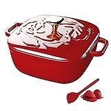 YZ-YUAN Home Pentola per pentole Quadrata in ghisa con Rivestimento smaltato, Teglia Quadrata in ghisa Smaltata, Forno Olandese per Cucinare e cuocere al Forno - Miglior Regalo, Rosso