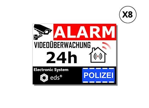 Egero - 8 Stück Abschreckende Aufkleber Videoüberwachungsalarm Polizei Einbruchschutz für Wohngebäude Gewerbegarage. Alarmaufkleber für die professionelle Videoüberwachung (Polizei)