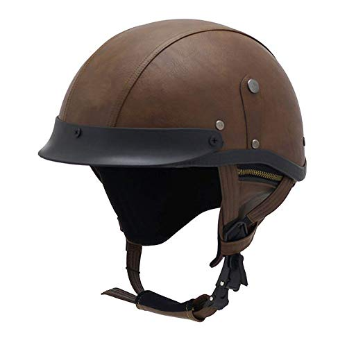 Woljay Leather Motorcycle Vintage Half Helmets Biker Cruiser Scooter Touring Helmet (Brown)