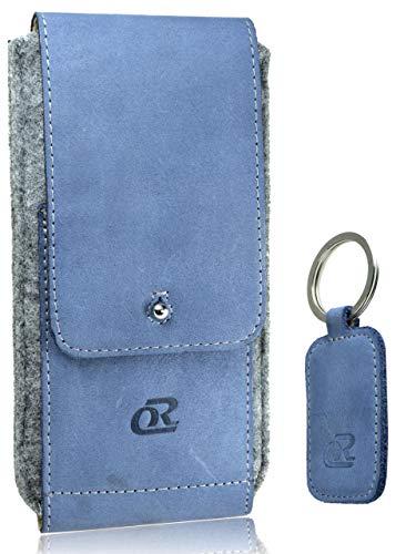 OrLine Handytasche passend für Alcatel Idol 3C mit Silikon Hülle. Hülle mit Verschluß & EC-Kartenfach aus Echtleder. Beige-Grau Etui aus Leder & Filz mit die Schlüsselan.