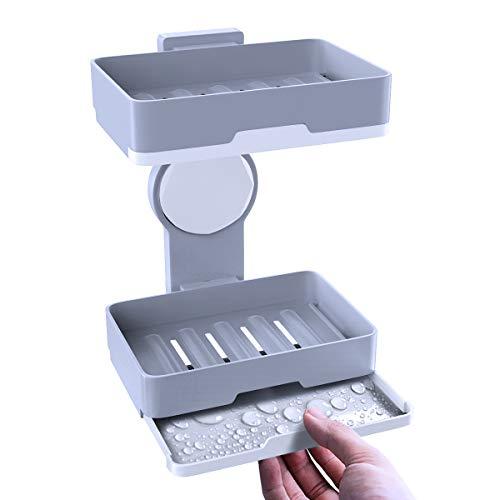 Seifenhalter, BMK Seifenschale Seifenablage Doppel Seifenkiste ohne Bohren für Dusche, Bad, Küche, halten Seife trocken und sauber, einfache Reinigung