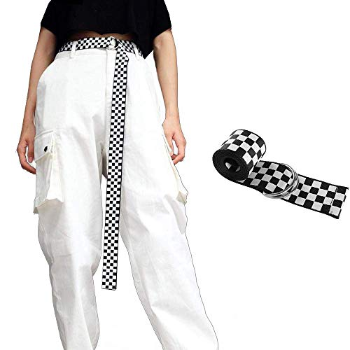 Cinture a Scacchi da Donna, Cintura Selvaggia di Moda Giovanile, 120 cm Cintura da Donna Cintura in Tela Cintura a Scacchi Cintura a Quadri Bianca Nera Cintura a Scacchi Cintura per Ragazze