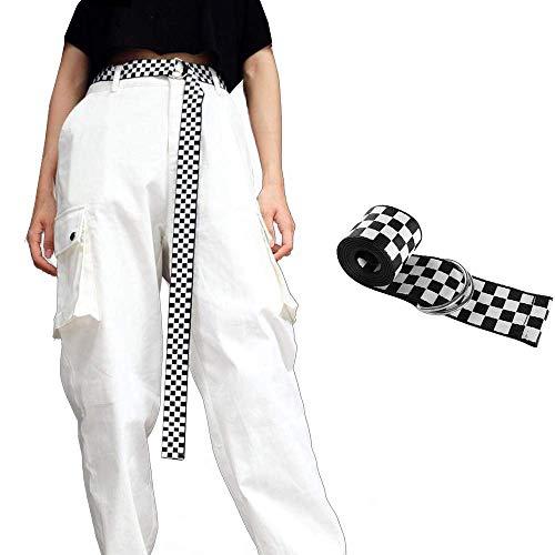 Cinturón de Mujer de Tela para cinturón, 120 cm Color Negro y Blanco a Cuadros, Cinturón Salvaje de Moda, Cinturón de lona para Hombre y Mujer con Anilla en D Negra