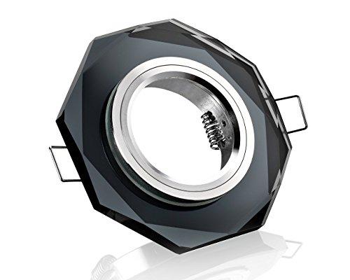 10x Kristall Einbaustrahler schwarz achteckig Klickverschluss inklusive 230V GU10 und 12V Fassung