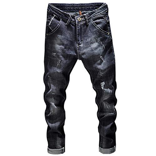 Vaqueros para Jeans Pantalones Pantalones Vaqueros Rasgados para Hombre Azul Oscuro Stretch Slim Fit Streetwear Streetwear Pantalones De Mezclilla Casual Retro Biker Jeans Hombre P