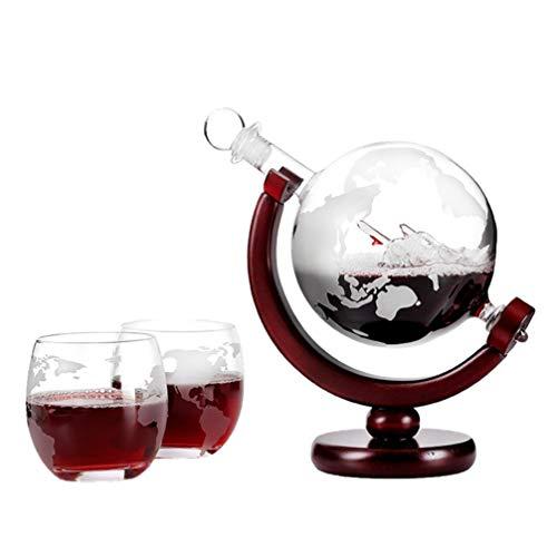 UPKOCH Whisky Globus Dekanter Set Globus Dekanter für Schnaps Bourbon Wodka Home Bar Zubehör mit 2 Tasse 850Ml
