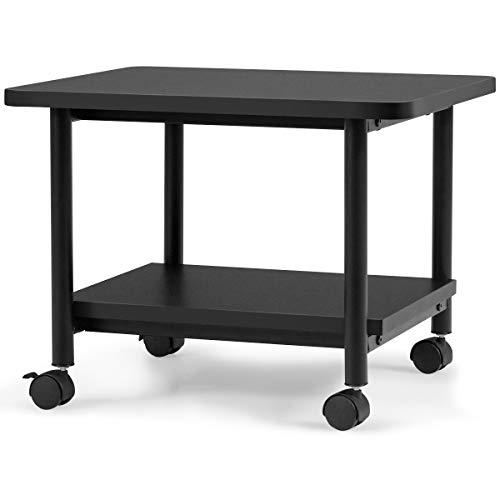 DREAMADE 2 Ebenen Druckerwagen, Druckerständer mit Rollen, Multifunktionswagen Bürocontainer aus Holz & Stahl, Rollwagen Rollcontainer für Zuhause und Büro (Schwarz)