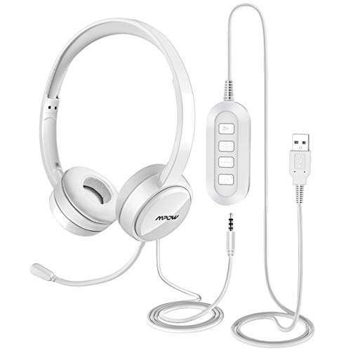 Mpow PC Headset, USB Headset/3.5mm Computer Headset, Stereo Sound Leicht PC Headset mit flexiblen Mikrofon, Telefon Headset für Skype Voip Teamspeak Mac PC Smartphone Tablet (2-Schnee)