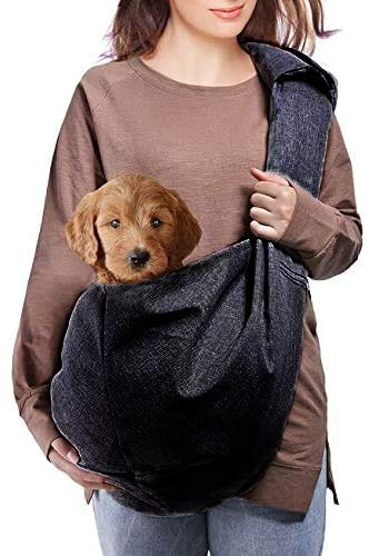 Dog Sling Carrier, Lightweight Pet Purse with Adjustable Quilted Shoulder Strap and Zippered Pocket for small and medium dogs (10lbs-20lb)