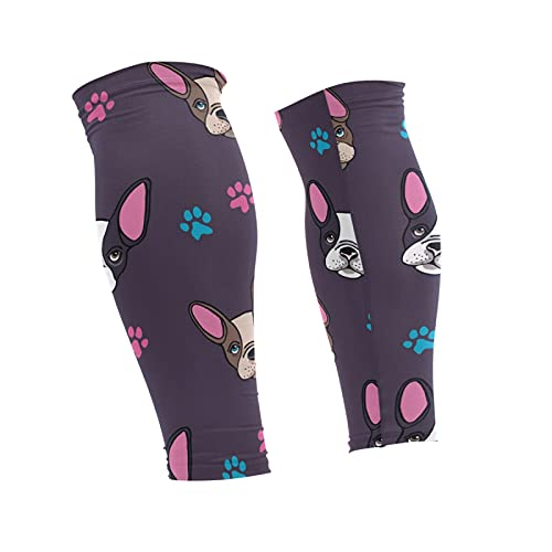 Oyihfvs French Bulldog Heads Puppies Dogs Colorful 1 Pair Long Cooling Leg Knee Sleeve, Non Slip Warmer Uv Brace Compression Support Cover for Running Basketball Football Cycling