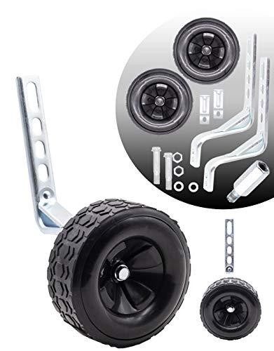 MOLI DEE Bicycle Training Wheels Fits 16 18 20 22 24 inch Kids Bike (Black-a)