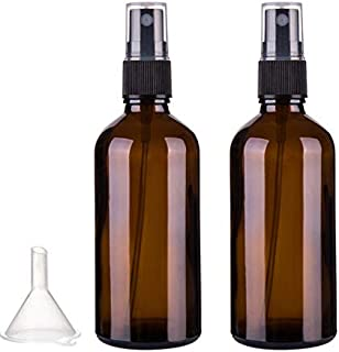 Spray bottle, amber spray bottle (100 ml) - with plastic funnel, Black Mist mist sprayer, travel bottle, portable filling ...