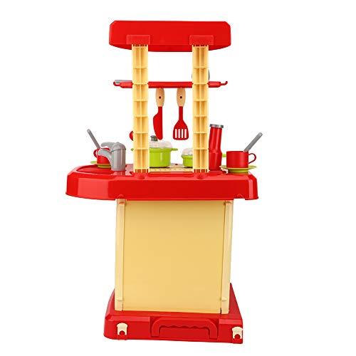 Play House Vajilla Juguete con Luz y Sonido-Simulación Cocina Juguete Set Niños Cocinar Vajilla Juguetes con Luz Efecto Sonido Rojo