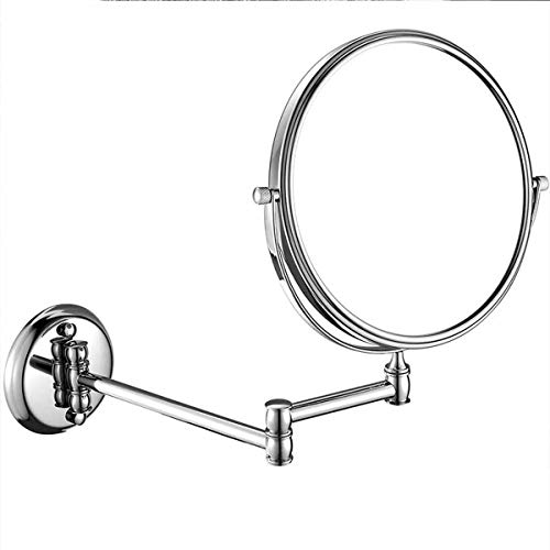 LED Wand befestigter zusammenklappbaren Make-up Spiegel, 8In Metall Creativ Dreh Make-up Spiegel, seitig Doppel 1: 3 Vergrößerung Wandhalterung Spiegel, Chrom-Synthese
