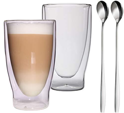 Feelino Lattechino Grande - Verre à double paroi - 400 ml - Verres thermiques XXL avec effet flottant pour le thé, le café, les cocktails, Verre, 2 Stück + Löffel