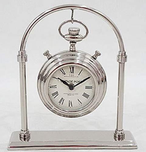 Casa Padrino Jugendstil Tischuhr Silber H. 28 cm - Schreibtischuhr - Wohnzimmer Büro Deko...