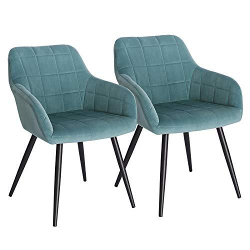 WOLTU® Esszimmerstühle BH93ts-2 2er Set Küchenstuhl Polsterstuhl Wohnzimmerstuhl Sessel mit Armlehne, Sitzfläche aus Samt, Metallbeine, Türkis