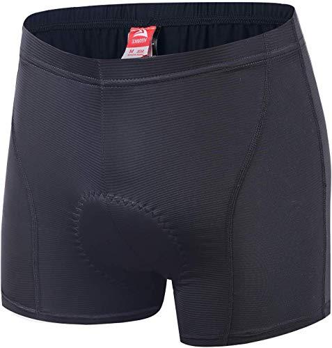 ALLY Fahrradhose Herren mit Gel Sitzpolster, Radhose Radlerhose Herren, Männer Fahrrad Unterhose Polster Shorts, Schwarz, X-Large 86-91cm