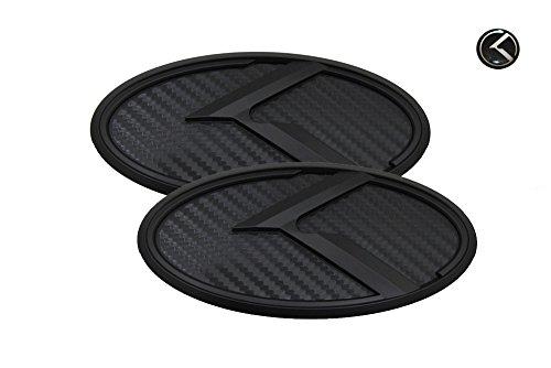 3D K Logo Emblem Carbon Fiber & Black Edition Set 3pc Front + Rear + Mini Sticker (Fit: KIA 2011-2020 Optima K5)