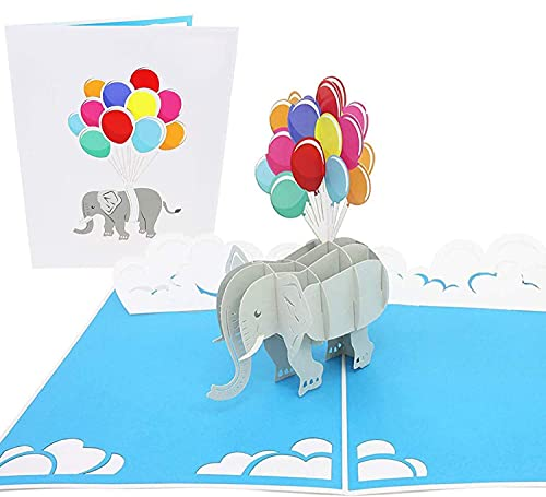 PopLife Elephant and Balloons Pop Up Card for All Occasions - Mothers Day Card, 3D Birthday Pop Up, Baby Shower Gift, Get Well - for Mother, for Daughter, for Wife, for Granddaughter